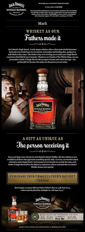 Father's Day Jack Daniel's email