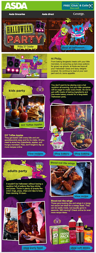 Asda halloween email marketing content