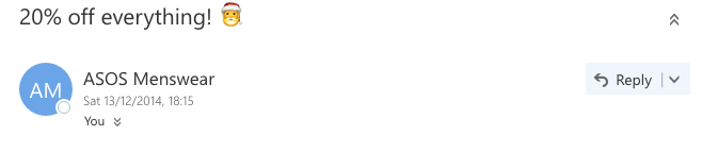 Asos emoji in email subject line example 20 percent