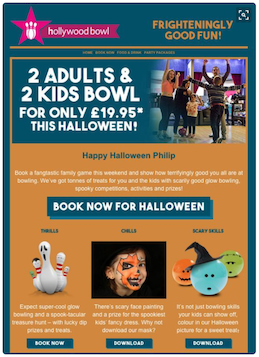 Hollywood Bowl halloween email content