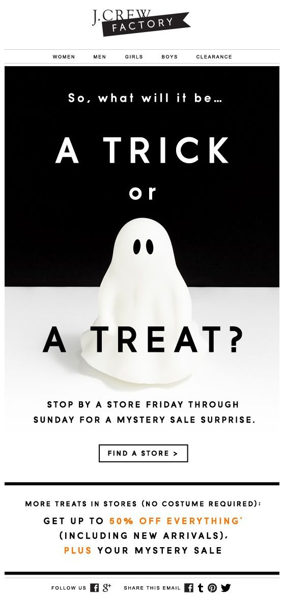 J.Crew Halloween email campaign