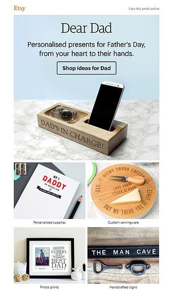Etsy fathers email marketing