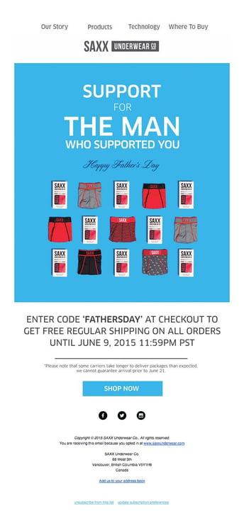 Saxx Underwear Email Marketing Father's Day