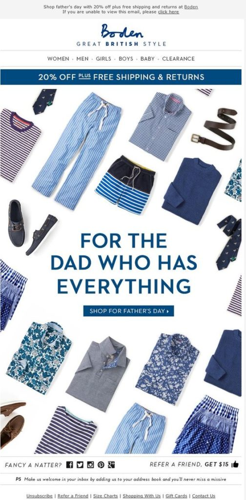 Boden fathers day email