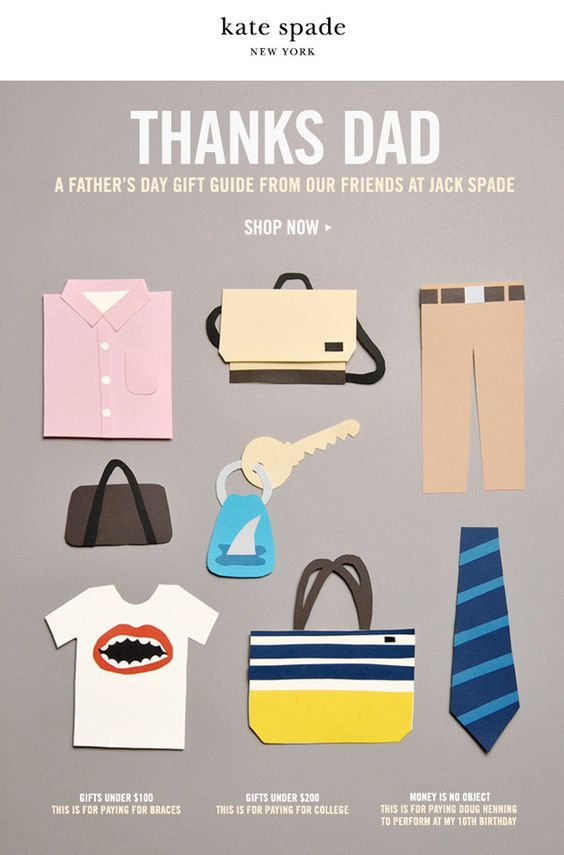 Kate Spade fathers day email