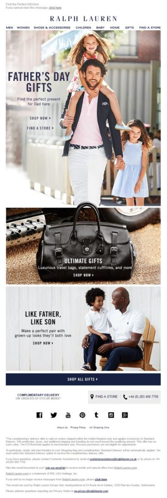 Ralph Lauren Email Marketing examples fathers day