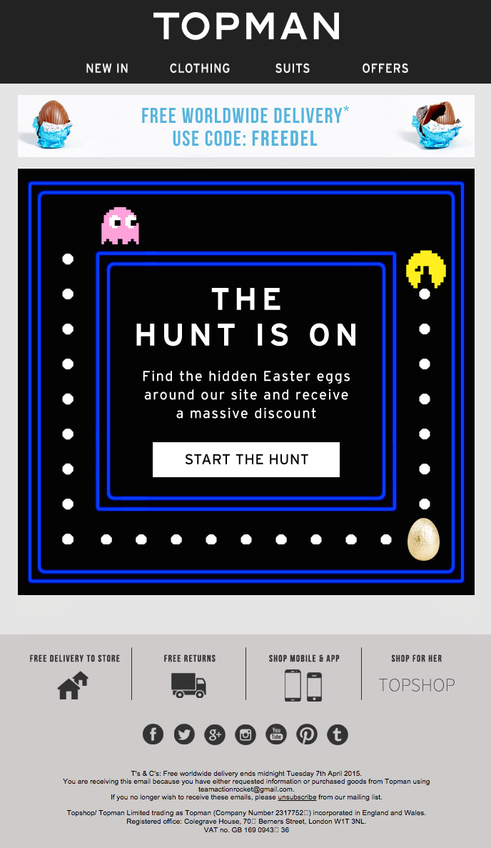 Easter email marketing campaign from Topman
