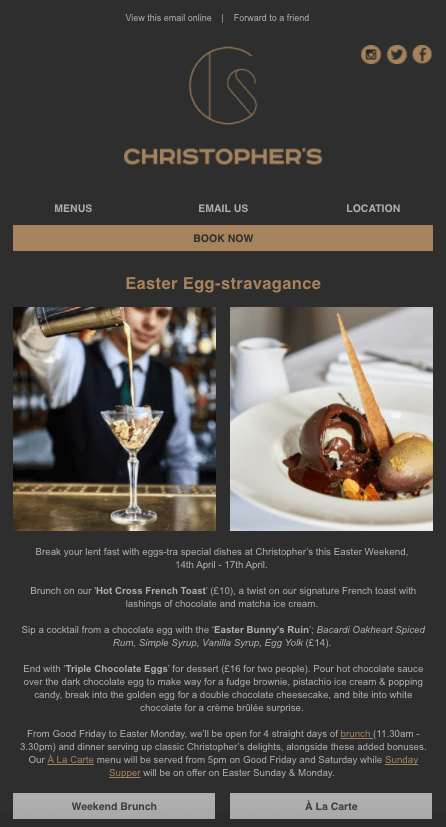 Easter email marketing campaign Christophers