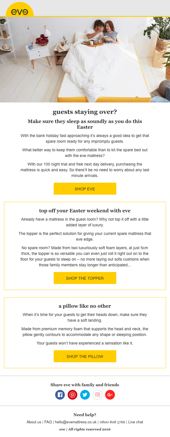 Easter email marketing by eve sleep