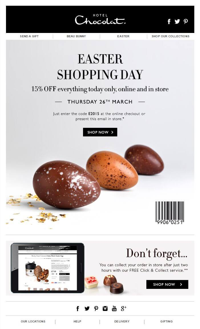Easter email marketing campaign Hotel Chocolat