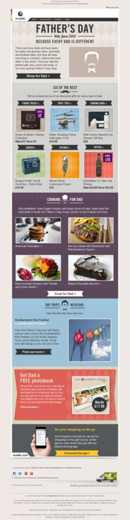 Ocado fathers day email